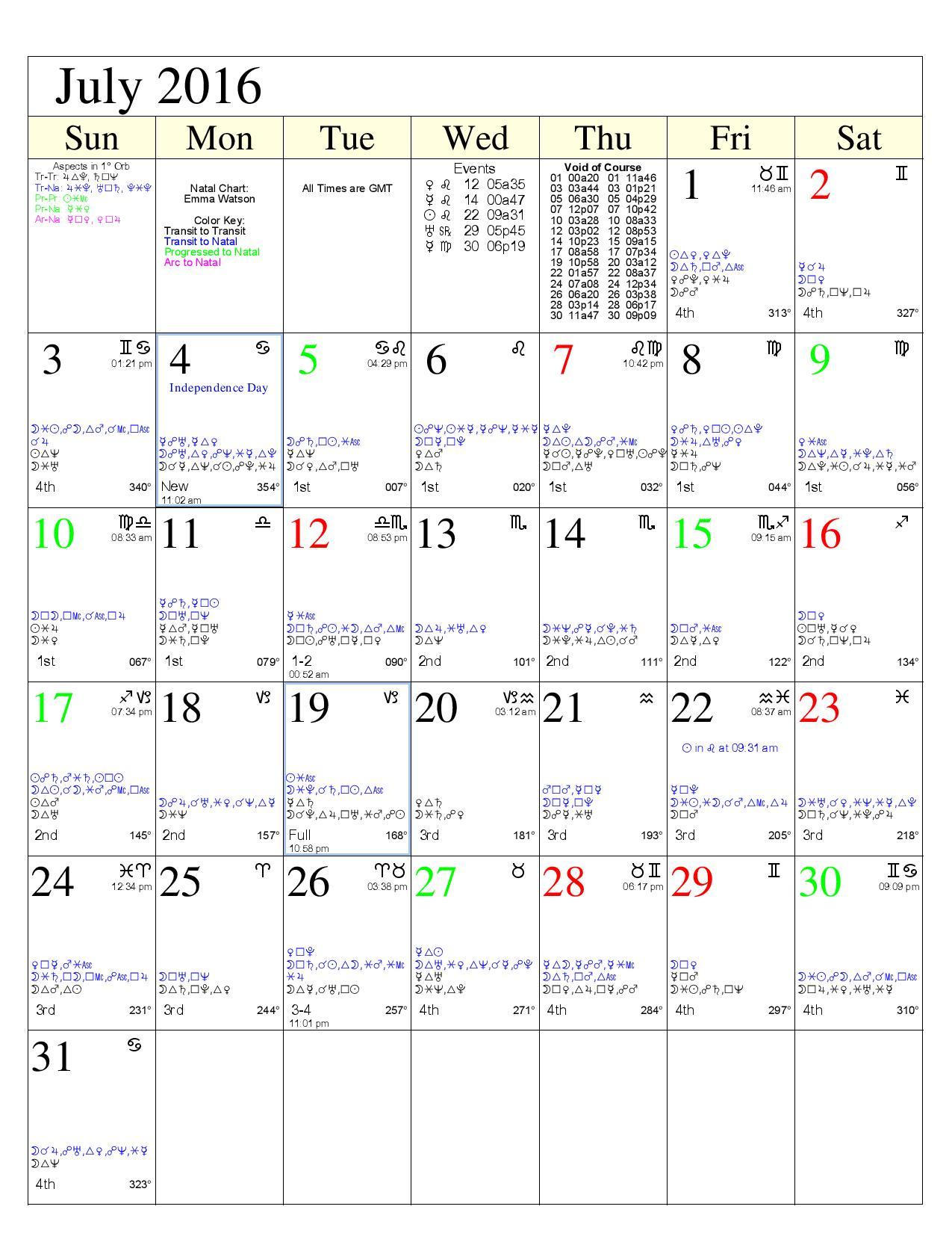 Day Watch Calendar Example   Aloha Astro
